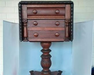 "Empire Period 3 Drawer Side Table - Carved, Paw Feet, 30"" tall."