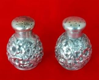 Repousse Sterling Silver Salt & Pepper Shakers.