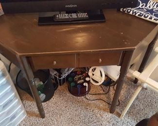 Corner desk, probably 1960s mid century era. Includes a chair