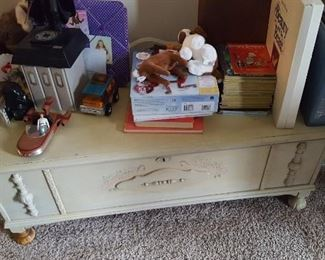 Cedar chest and Little Golden Books, more collectibles