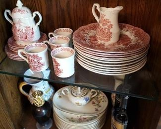 Red transfer-ware dishes