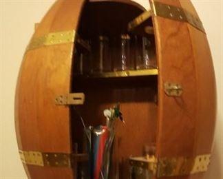 Barrel style wall bar - liquor cabinet.