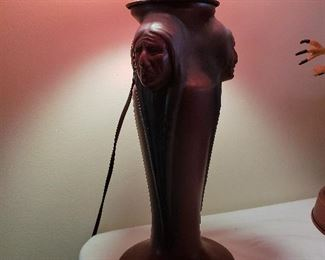 VAN BRIGGLE POTTERY Triple Indian Head Table Lamp