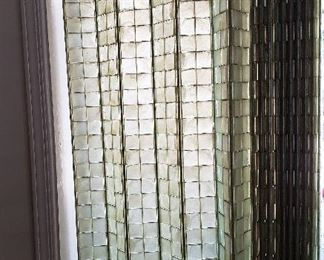 """Jaylis window curtain screens — woven plastic accordian-style screen curtains — were trademarked in 1959 and disappeared from the market by 1973. Jaylis blinds were actually featured in  Disneyland's Mid-Century Modern """"Monsanto House of the Future"""" as a room divider. Very cool, super rare, 1960's Mid Century Modern plastic basket weave blinds, numerous sizes."""
