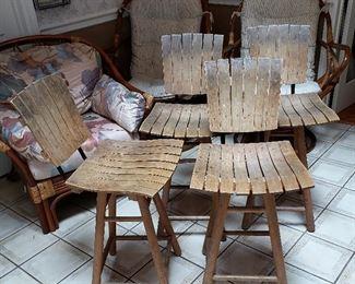 Set of 4 Mid Century Modern Arthur Umanoff Style wooden Tiki bar stools.