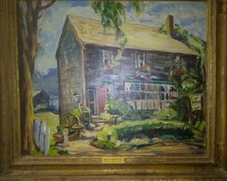 """Vintage Canvas Board Oil Painting """"Williamsburg"""" by Pearl A. Van Sciver"""