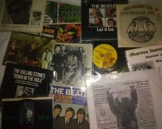 Collectible Rock and Punk 45 Records, Beatles, The Rolling Stones, Dharma Bums, White Zombie, Bob Dylan, and more