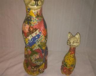 Vintage Hand Made Signed Folk Art Cats