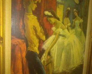 Vintage Mid Century  Oil Painting Artwork