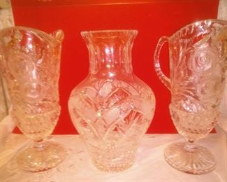 Lead Crystal Vase and Pitchers
