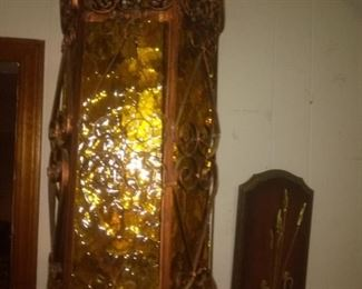 Vintage Hanging Gothic Scroll Copper  Amber Glass Lamp