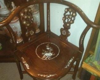 Vintage Asian Mahogany  Inlay Corner Chair