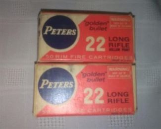2 Boxes Vintage Peters .22 Long Rifle Ammunition