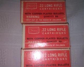 2 Boxes Vintage Sears .22 Long Rifle Cartridges