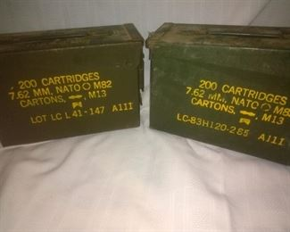 2 Vintage Military Ammo Cases