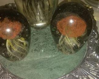 3 Jellyfish Paperweights