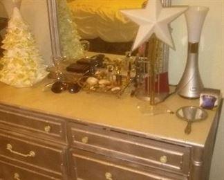 Vintage Silver 1966  Thomasville Dresser and Mirror