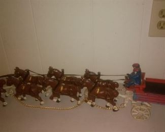 Cast Iron Beer Wagon with 8 Clydesdale Horses, Drivers with  (Wood Barrels not pictured)