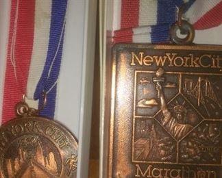 Vintage 1980 and 1986 New York City Marathon Medals
