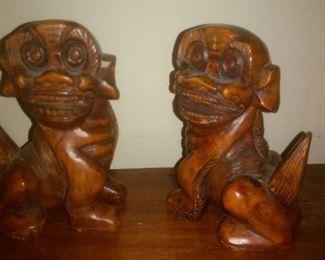 Vintage Wood Foo Dogs