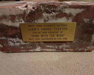 """Brick From Atlanta's Historic Loew's Grand Theater Site of 1939 Premiere of """" gone With The Wind"""" Built in 1893 - Destroyed by Fire in 1978"""