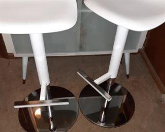 Pair of White  Retro Bar Stools