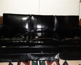 Vintage Black Patent Leather Couch