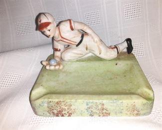 Vintage Baseball Player Ashtray