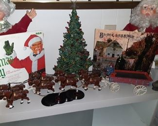 Vintage Kentucky Fried Chicken Christmas Promotional  Record , Mr. and Mrs. Claus. , Cast Iron Budweiser Cart and barrels, Black Sabbath LP, Vintage Record Coasters, Ceramic Christmas Tree