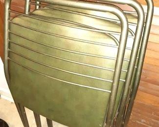 4 Vintage MCM Green Chairs