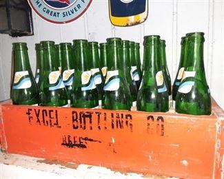Vintage Excel Bottling Co. Crate and Bottles
