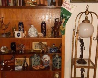 Book Shelf Vintage Books and Asian  Ceramic Vases,  Bronze Figurines