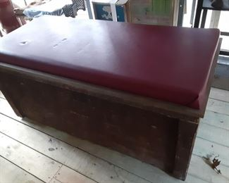 Vintage Wood Chest With Cushion Top Really Large Really Cool