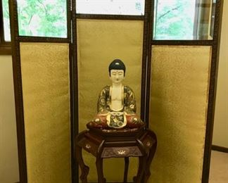 Screen with Beveled Glass, Brass Detailing, and Silk Upholstery - Satsuma Buddha