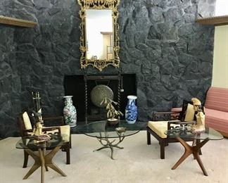 "Pair of Adrian Pearsall ""Jacks"" Tables , Gilt Mirror, Asian Arm Chairs, and Vases"