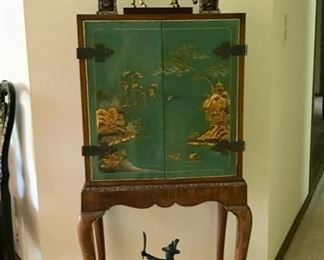 Vintage Chinoiserie Cabinet with Bronze Statue