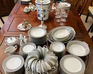 "Set of Grey & White China by Sango - ""Platina"",  Pair of Sterling Candelabra, and Graceful Asian Dinning Room Table with 8 Chairs/Two Leaves"