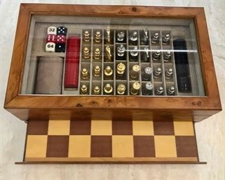 Beautiful Chess/Backgammon Set - Brass and Pewter
