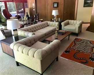 Mid Century Modern Dunbar Couch (Designer Roger Sprunger for Dunbar) & Matching  Tufted Chairs, MCM Coffee Table, Tibetan Wool Rug, and more...