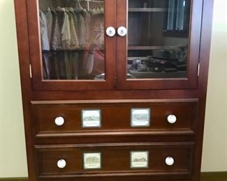 "Custom made ""Golf Armoire"" and Matching Hutch - Decorated with Royal Troon, Gleneagles, and other Golf Memorabilia - Maple"