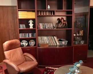 Three Piece Shelving Unit, Record Collection, Leather Chairs, and more...