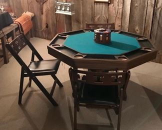 Poker Table with Four Folding Chairs