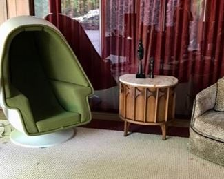 Lee Company Egg Chair with Wiring for Sound, (Fiberglass in good condition)  MCM House & Herrmann Chest, MCM Chair attributed to Adrain Pearsall, and Bang & Olufsen Speakers and more...