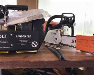 "Portable ULV Generator  ""London Fog"" and Stihl Chain Saw - Three Car Garage Filled with a Very Large Selection of Tools, Equipment, and more..."