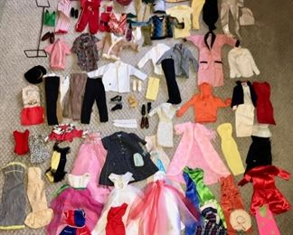 Sample of  Vintage  Clothing  for Barbie, Francie, Ken, and Skipper - Large Assortment of Accessories including many Styles of Shoes, Wigs, Hats, Gloves, Hangers, Nylons, and more...