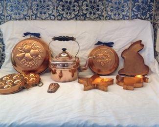Copper molds, tea kettle