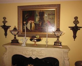 Marble Fireplace  and Italian Limoges Mignon Decor Cobalt Blue Wall Sconces
