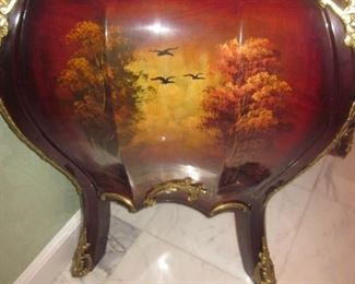 French Hand Painted Marble Top Chest