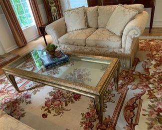 Gold leaf and glass rectangular coffee table, Beacon Hill Robert Allen matching loveseats