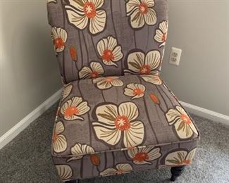 Pretty poppy fabric chair (2 available)